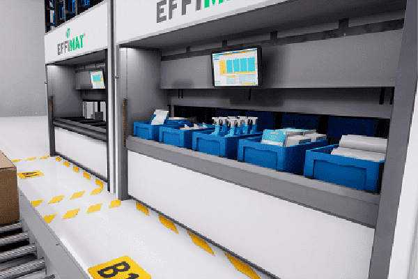 Automated storage options include this effimat vertical storage for groceries